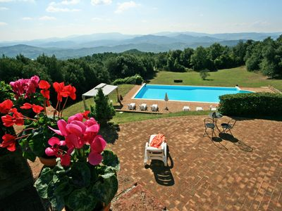 Photo for LE CAMPORE - Hilltop Tuscan villa with stunning views, geogeous pool & garden
