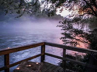 Photo for MISTY RIVER- 2BR/2BA CABIN ON THE TOCCOA RIVER, HOT TUB, WIFI, PET FRIENDLY, FIRE PIT, WOOD BURNING