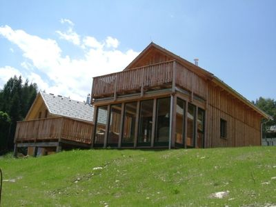 outside the chalet during the summer