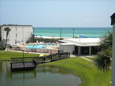 View of the lake, pool and Gulf of Mexico