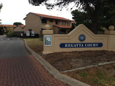 Entrance to Regatta Court off Brebner Drive