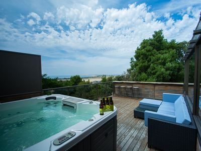 Spa on the deck, looking over water views