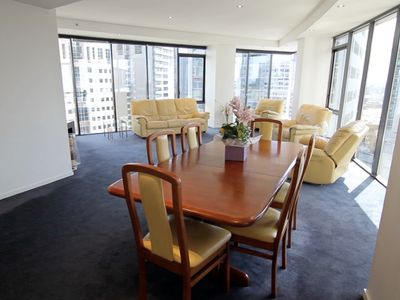 LARGE EXECUTIVE LOUNGE/DINING WITH PANORAMIC FLOOR TO CEILING WINDOWS
