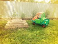 Sandpit and toy car