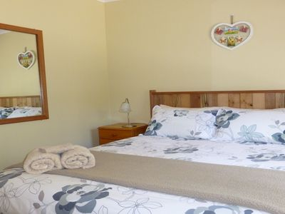 Queen bedroom in Banksia Cottage at Sisters Beach, Tasmania