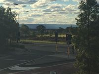 Distant blue mountains view