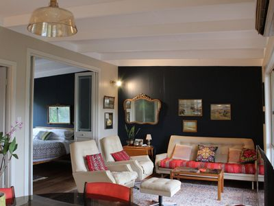 The open plan living area, through to the master bedroom. Stylish and relaxing.