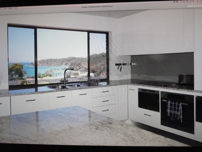 Very large gourmet kitchen with beautiful ocean views