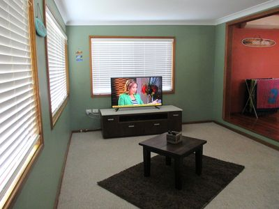 Large Family room with flat screen TV