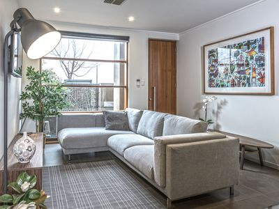 Plenty of space to watch TV, with a couch that could sleep an extra person.