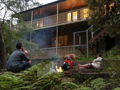Relax in the bush garden by the open fire pit