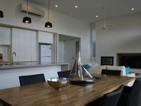 Modern kitchen with large bench