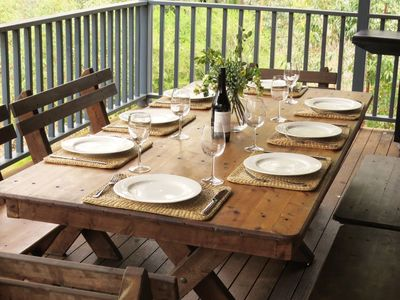 Large deck is great place to enjoy a leisurely lunch