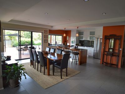 Dining Kitchen thru to view of BBQ area to pool