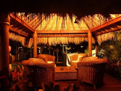 Waterfront Bali Hut at night Enjoy the cool breeze off the water