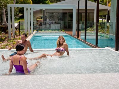 Magnesium pool, water curtain & house