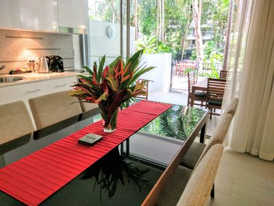 Dining, kitchen & private terrace