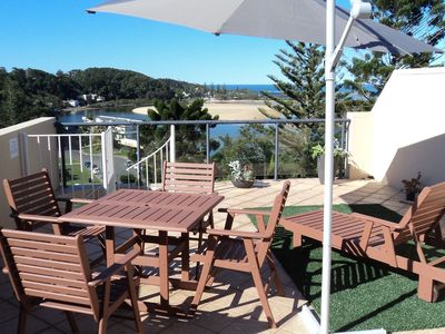 Private Terrace with view down the Nambucca River to the Pacific Ocean