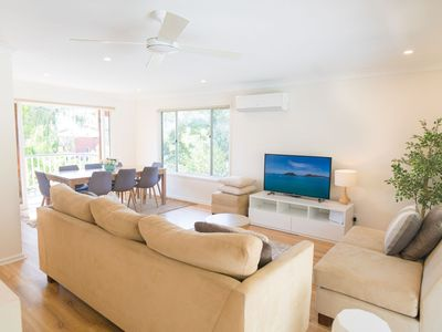 "Upstairs living area, aircon, fan, 4k 55"" Smart tv, stream Netflix, youtube etc."