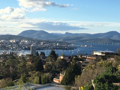 Panoramic views over Hobart, the river, bridge and Sandy Bay.