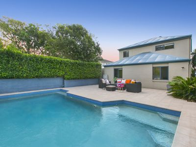 from pool to rear of home