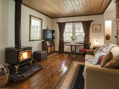 Inviting living room with cosy fire