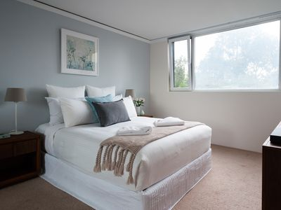 Light and airy bedroom with Queen bed