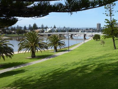 The Patawalonga River and pathway to Glenelg - across the road