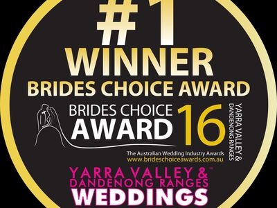"Winner ""Brides Choice Awards 2016"" for best wedding accommodation Yarra Valley"