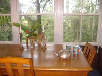 Comfortable dining with forest views