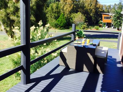 Breakfast on the sundrenched deck