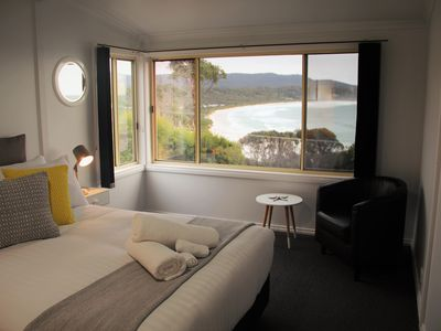 Bedroom with views of Binalong Bay beach