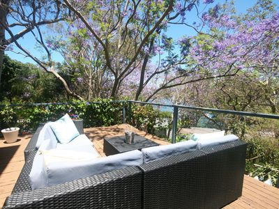 Lounge on terrace with filtered Pittwater views