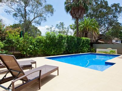 Private enclosed yard with pool