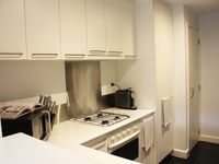 Kitchen with gas stove top and oven