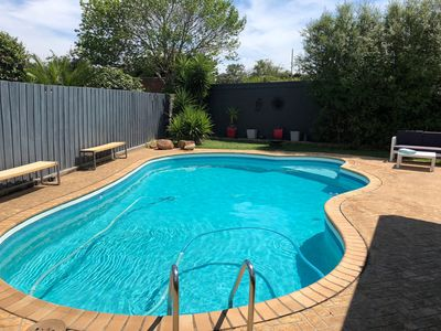 solar heated pool and outdoor setting
