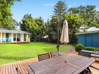 Large backyard with cabana,shower and toliet