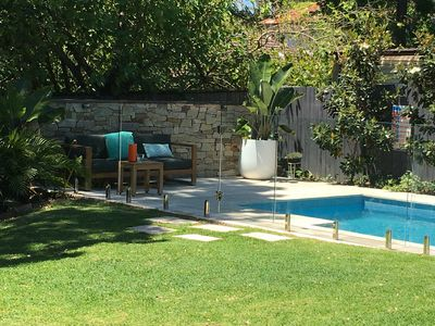 Heated pool in a north facing garden