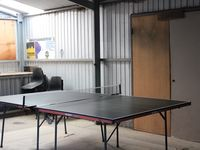 Table tennis table in garage
