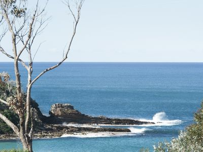 Ocean views to the north headland of Mollymook Beach.