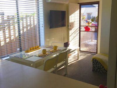 Bright sunny eating area