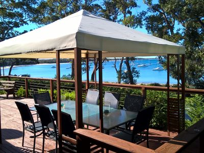 Our Gazebo on our beachfront balcony, great for entertaining with the BBQ nearby