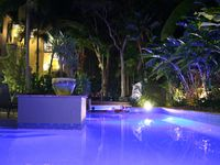 The pool looks magical at night