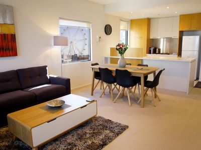 Living, dining and kitchen area in one of our apartments