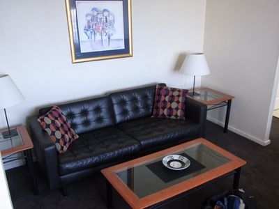 comfy leather lounge in all apartments