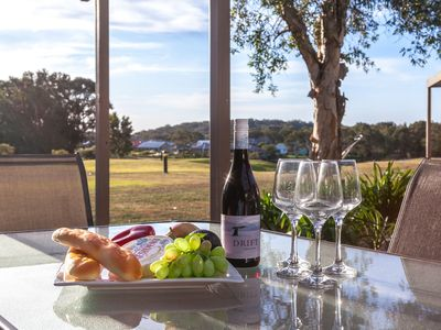 Enjoy lunch, cheese & fruit platter with wine overlooking the golf course