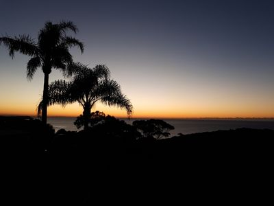 Unobstructed 180 degree view of the Pacific Ocean at dawn