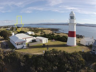 Aerial View from Light House with yellow arrow on Lightkeepers Cottage