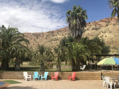 Poolside View with MacDonnell Ranges backdrop