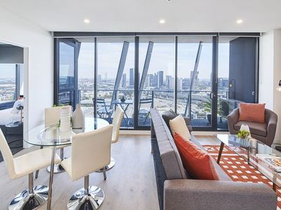 Bright and spacious living room with a view next to none